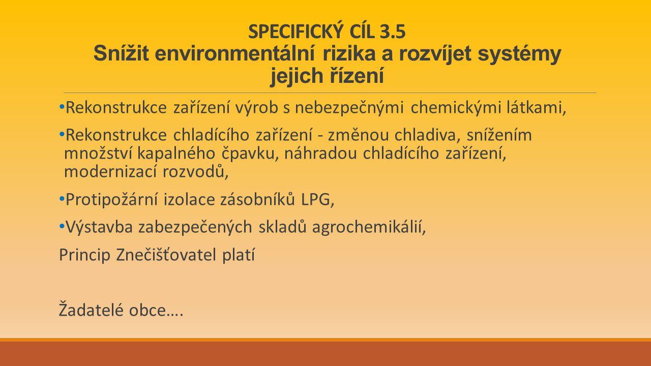SPECIFICKÝ CÍL 3.5 Snížit environmentální rizika a rozvíjet systémy jejich řízení