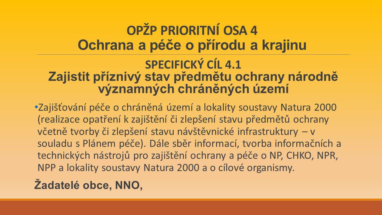 OPŽP PRIORITNÍ OSA 4 Ochrana a péče o přírodu a krajinu