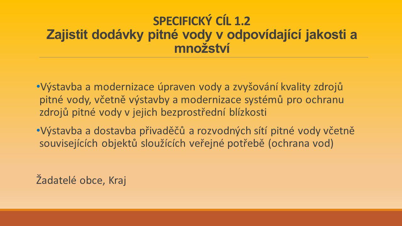SPECIFICKÝ CÍL 1.2 Zajistit dodávky pitné vody v odpovídající jakosti a množství