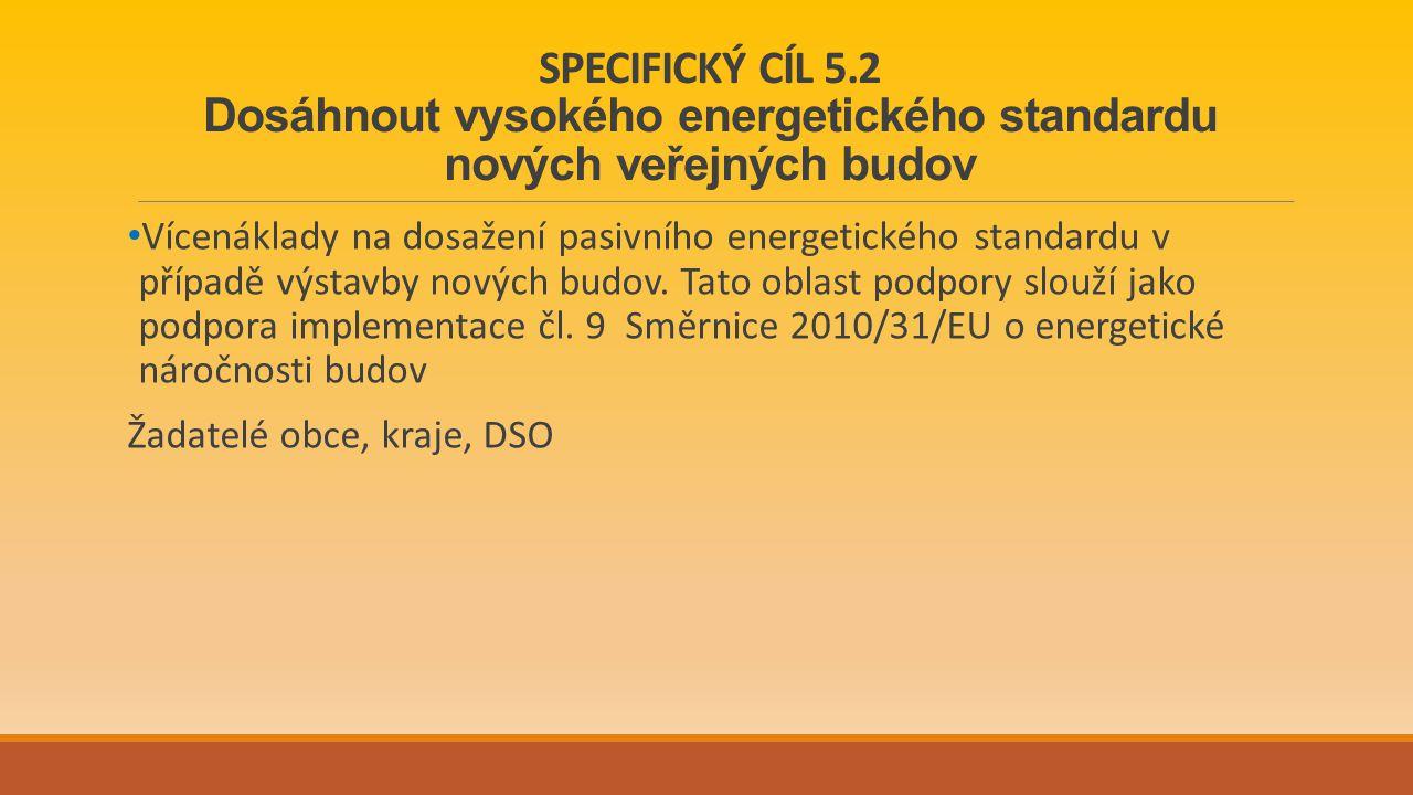 SPECIFICKÝ CÍL 5.2 Dosáhnout vysokého energetického standardu nových veřejných budov