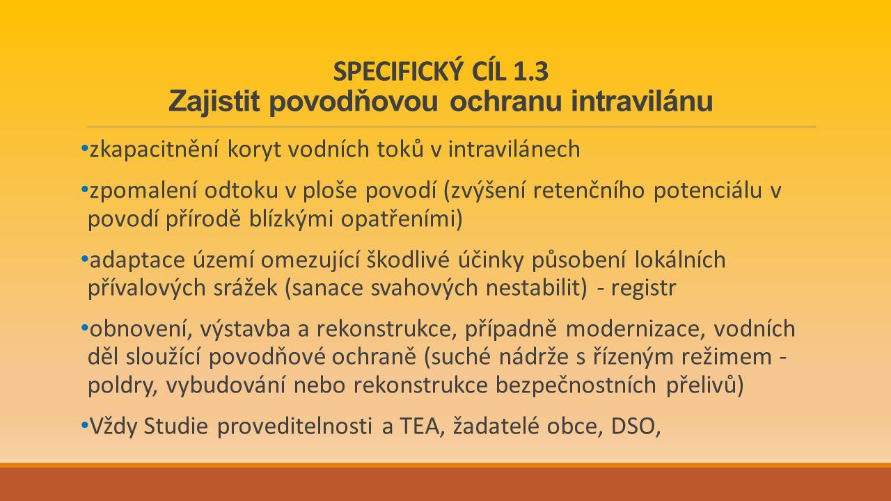 SPECIFICKÝ CÍL 1.3 Zajistit povodňovou ochranu intravilánu