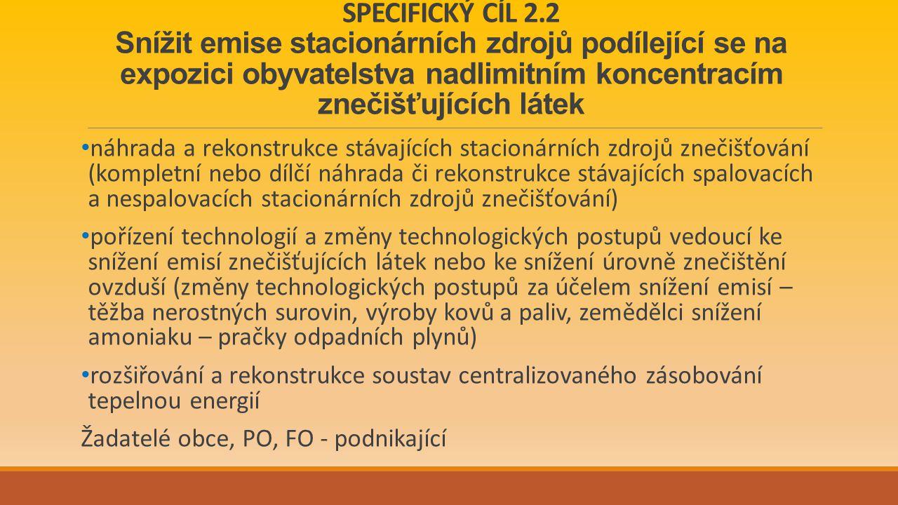 SPECIFICKÝ CÍL 2.2 Snížit emise stacionárních zdrojů podílející se na expozici obyvatelstva nadlimitním koncentracím znečišťujících látek