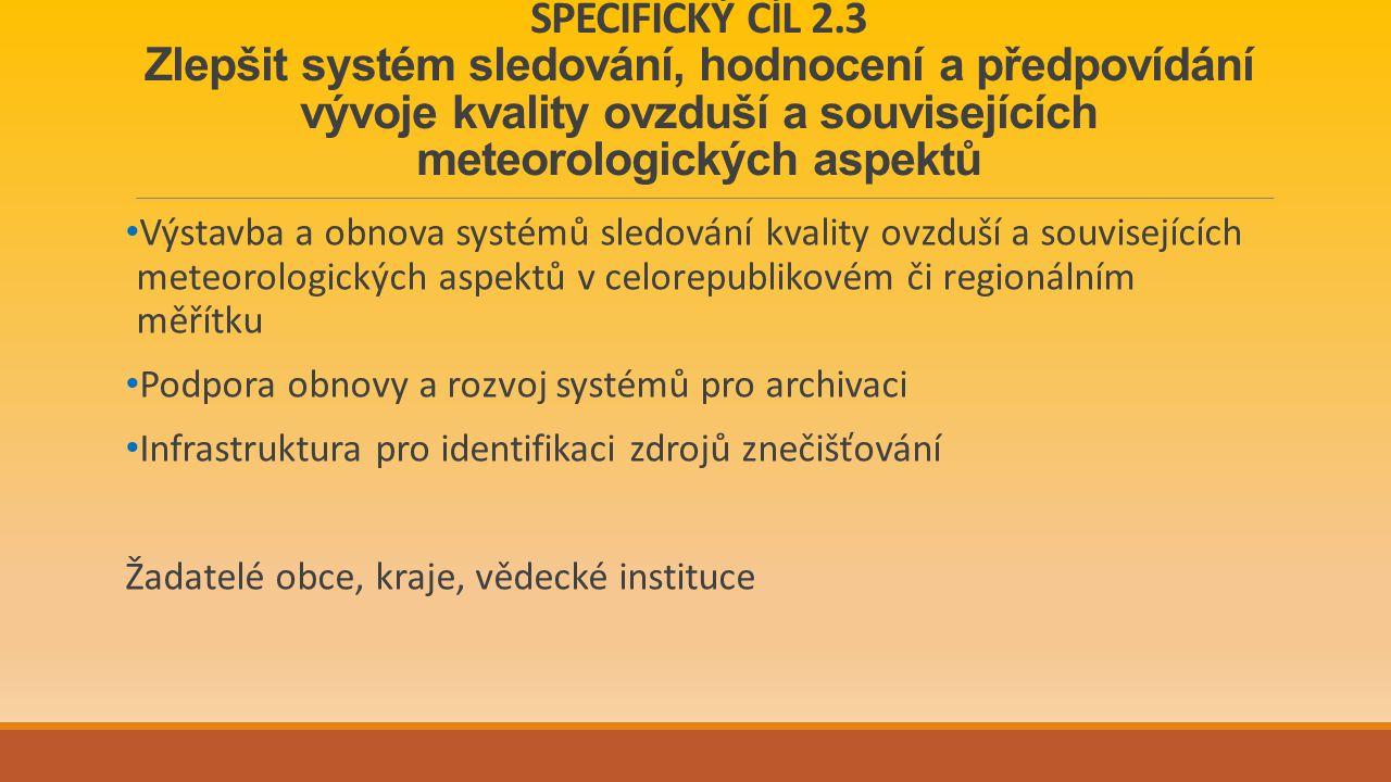 SPECIFICKÝ CÍL 2.3 Zlepšit systém sledování, hodnocení a předpovídání vývoje kvality ovzduší a souvisejících meteorologických aspektů