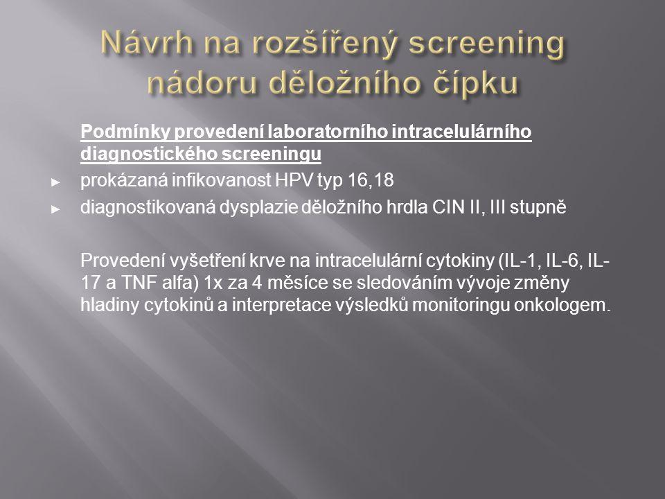 Návrh na rozšířený screening nádoru děložního čípku