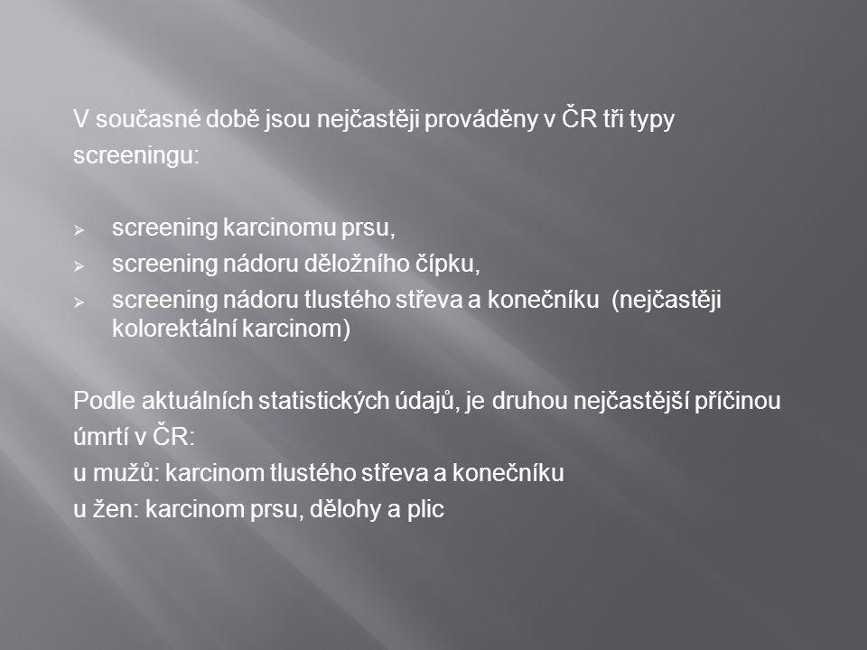 V současné době jsou nejčastěji prováděny v ČR tři typy