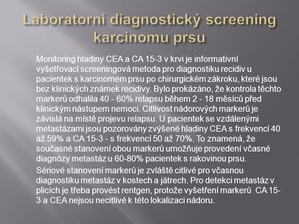 Laboratorní diagnostický screening karcinomu prsu