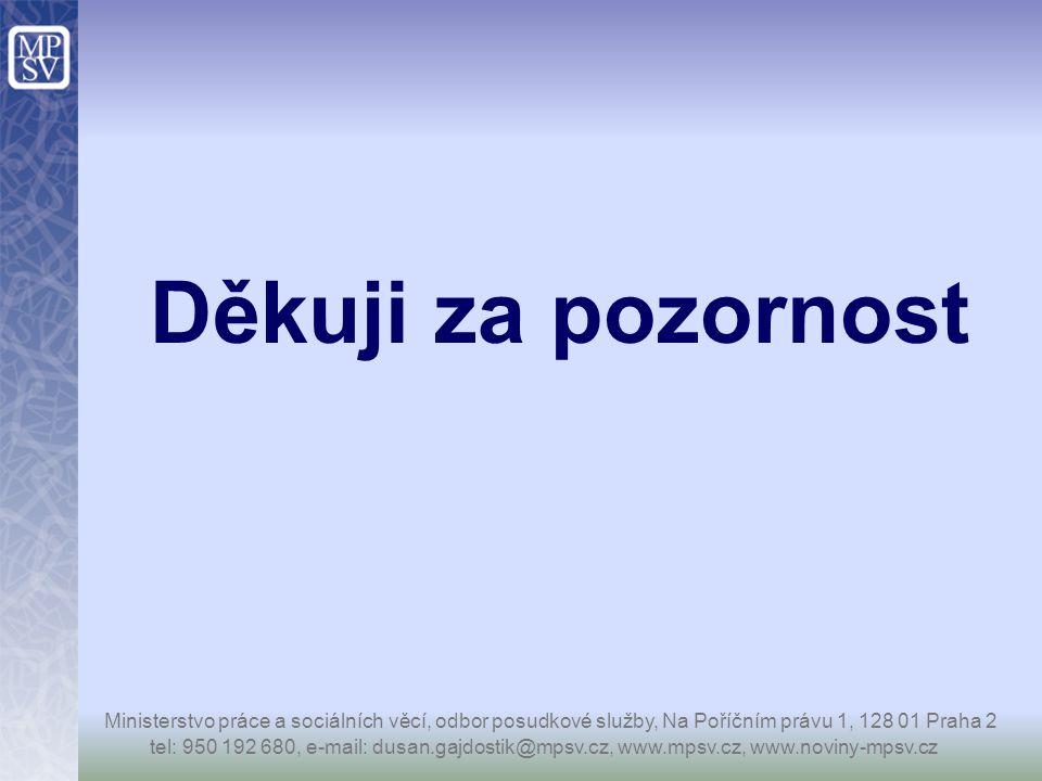 Děkuji za pozornost Ministerstvo práce a sociálních věcí, odbor posudkové služby, Na Poříčním právu 1, 128 01 Praha 2.