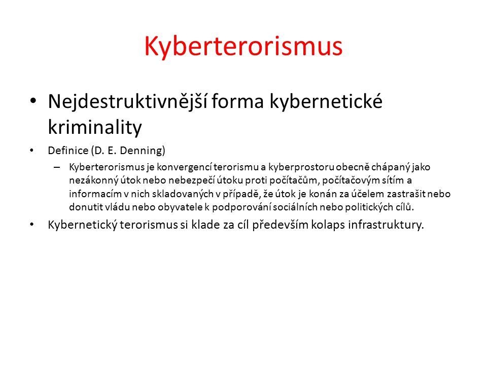 Kyberterorismus Nejdestruktivnější forma kybernetické kriminality