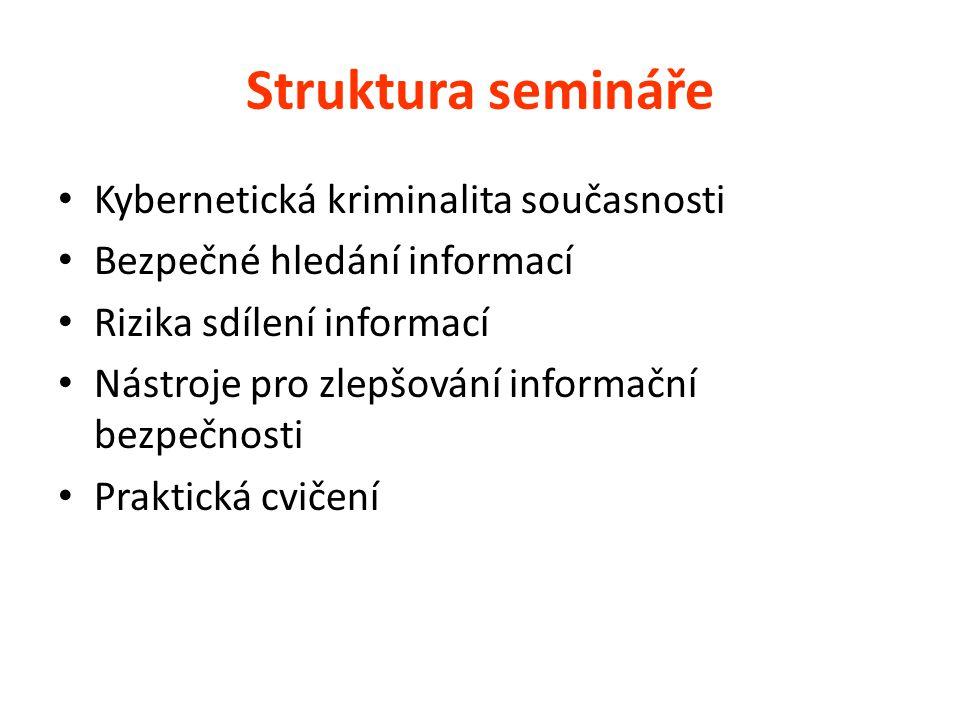 Struktura semináře Kybernetická kriminalita současnosti
