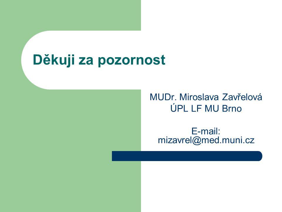 MUDr. Miroslava Zavřelová ÚPL LF MU Brno E-mail: mizavrel@med.muni.cz