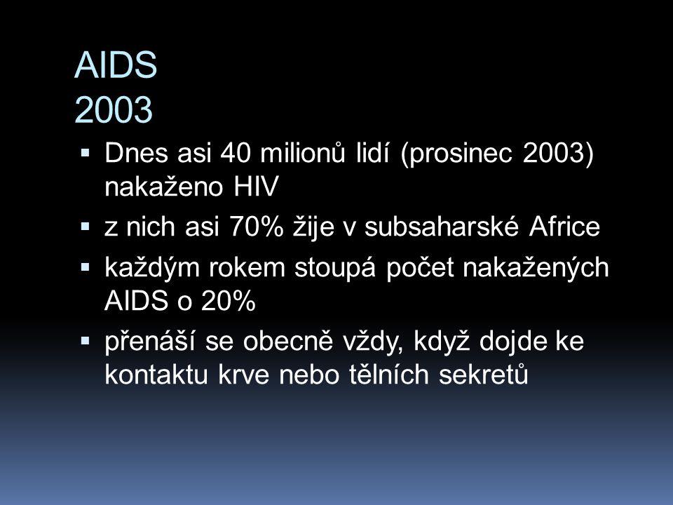 AIDS 2003 Dnes asi 40 milionů lidí (prosinec 2003) nakaženo HIV