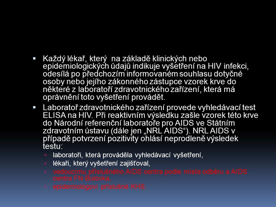 Každý lékař, který na základě klinických nebo epidemiologických údajů indikuje vyšetření na HIV infekci, odesílá po předchozím informovaném souhlasu dotyčné osoby nebo jejího zákonného zástupce vzorek krve do některé z laboratoří zdravotnického zařízení, která má oprávnění toto vyšetření provádět.