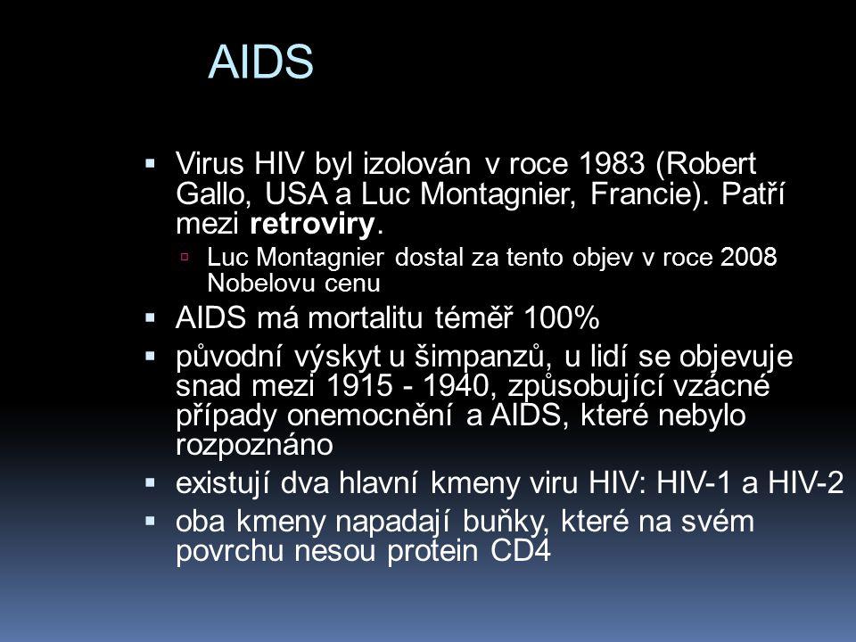 AIDS Virus HIV byl izolován v roce 1983 (Robert Gallo, USA a Luc Montagnier, Francie). Patří mezi retroviry.