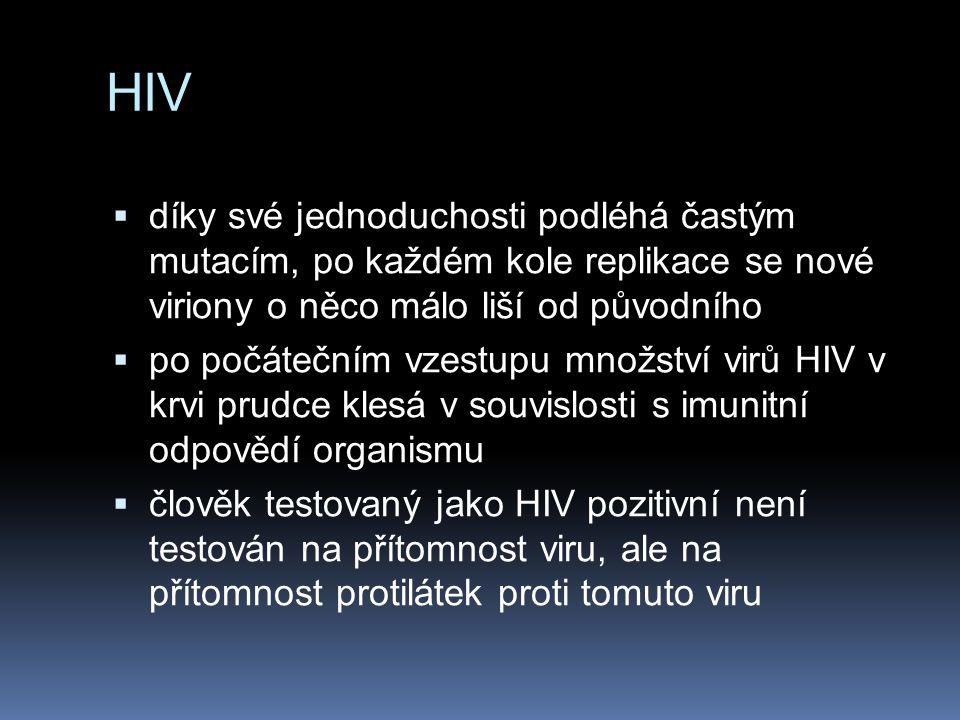 HIV díky své jednoduchosti podléhá častým mutacím, po každém kole replikace se nové viriony o něco málo liší od původního.