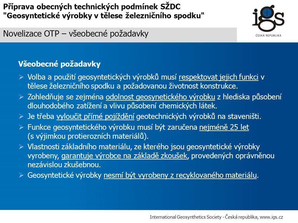 Novelizace OTP – všeobecné požadavky