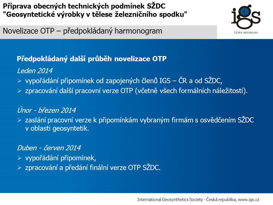 Novelizace OTP – předpokládaný harmonogram
