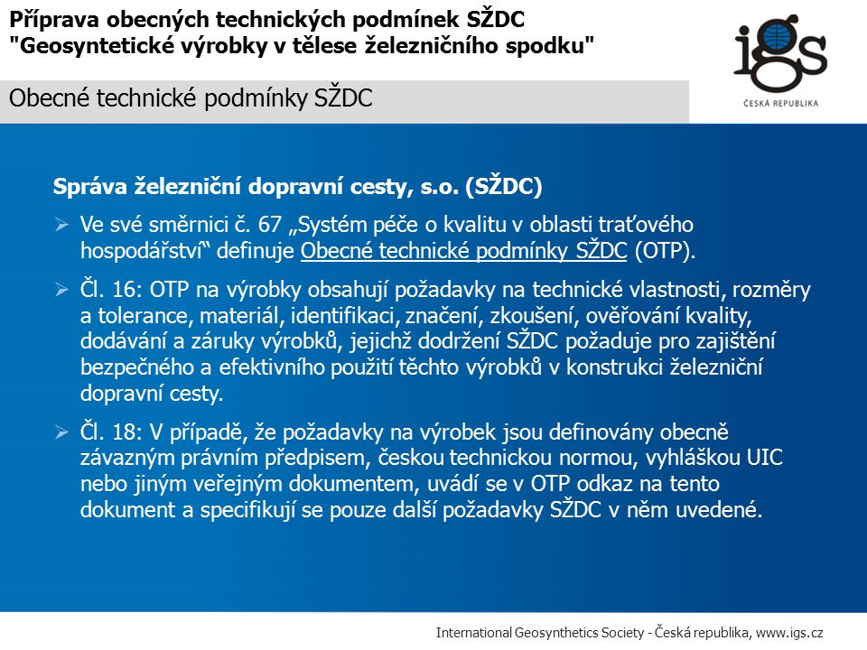 Obecné technické podmínky SŽDC