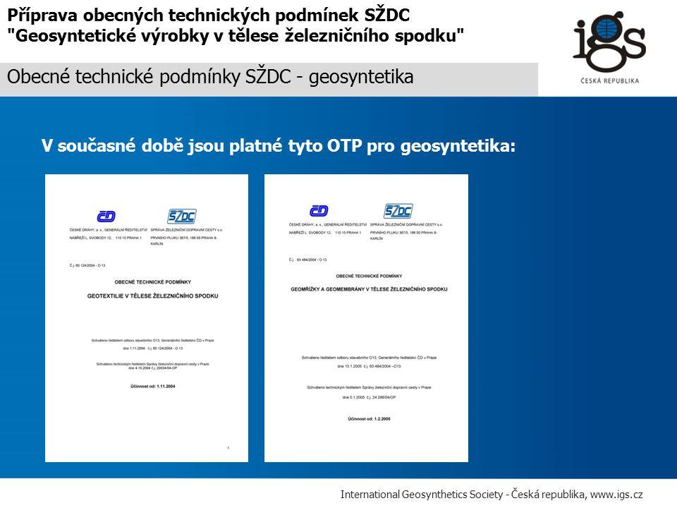 Obecné technické podmínky SŽDC - geosyntetika
