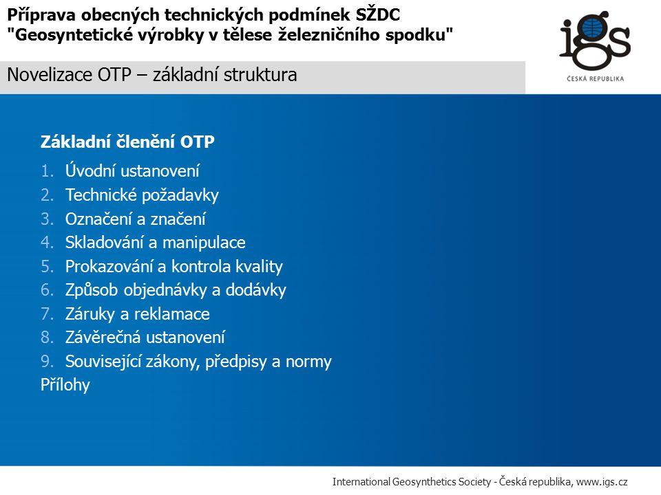 Novelizace OTP – základní struktura