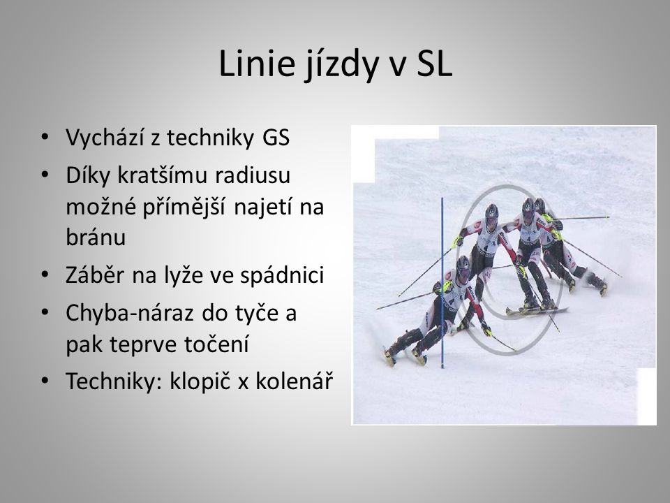 Linie jízdy v SL Vychází z techniky GS