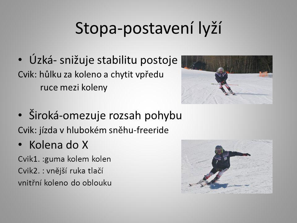 Stopa-postavení lyží Úzká- snižuje stabilitu postoje