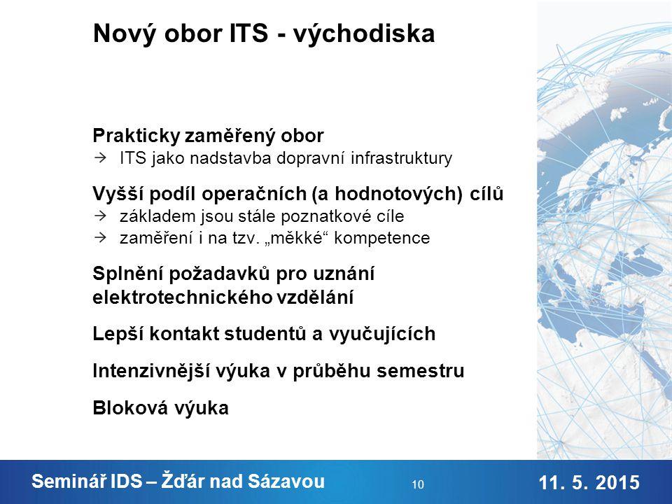Nový obor ITS - cíle Odborné znalosti Praktické dovednosti