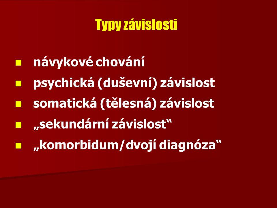 Typy závislosti návykové chování psychická (duševní) závislost