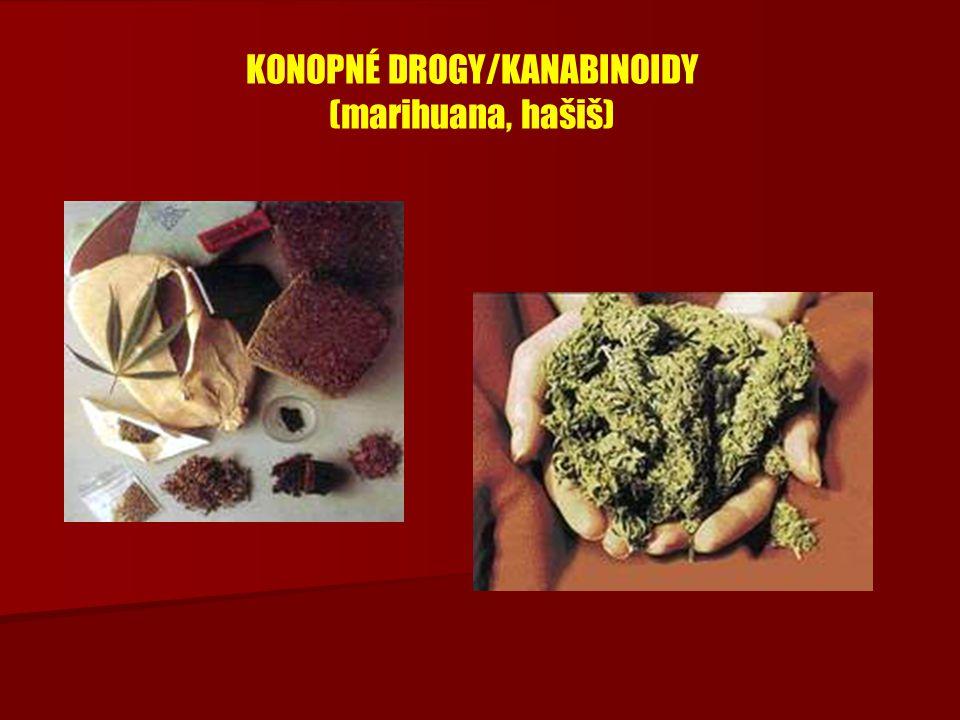 KONOPNÉ DROGY/KANABINOIDY (marihuana, hašiš)