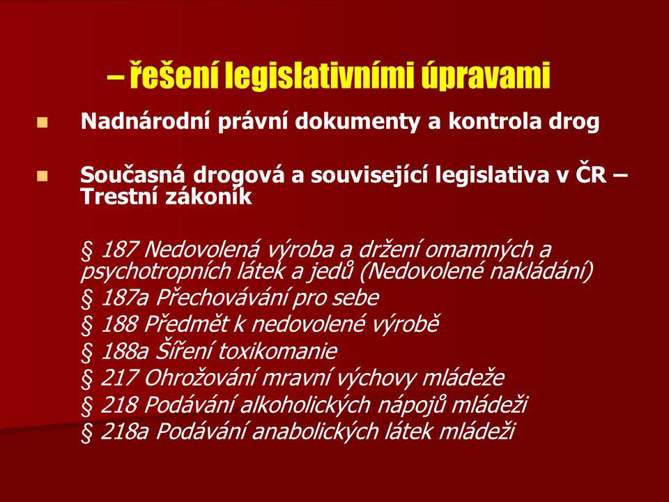 – řešení legislativními úpravami
