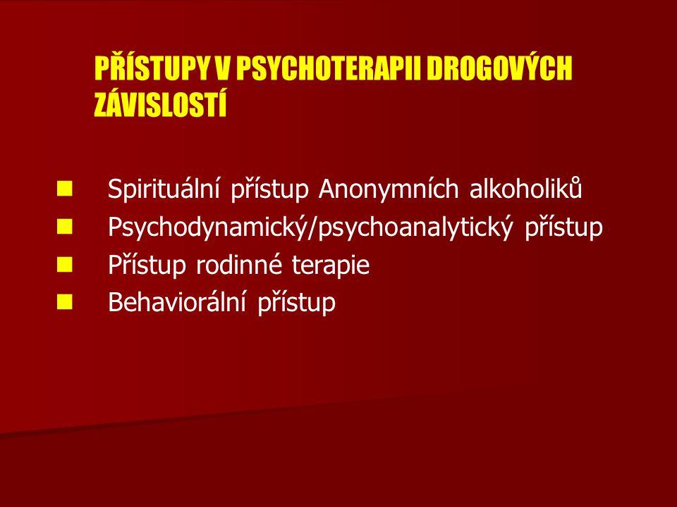 PŘÍSTUPY V PSYCHOTERAPII DROGOVÝCH ZÁVISLOSTÍ