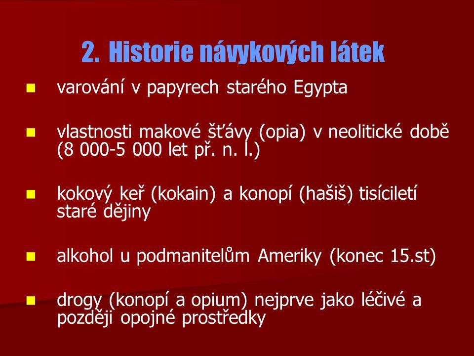 2. Historie návykových látek