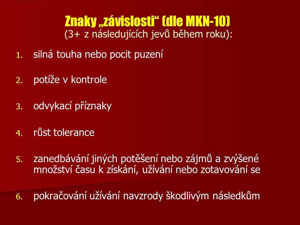 """Znaky """"závislosti (dle MKN-10) (3+ z následujících jevů během roku):"""
