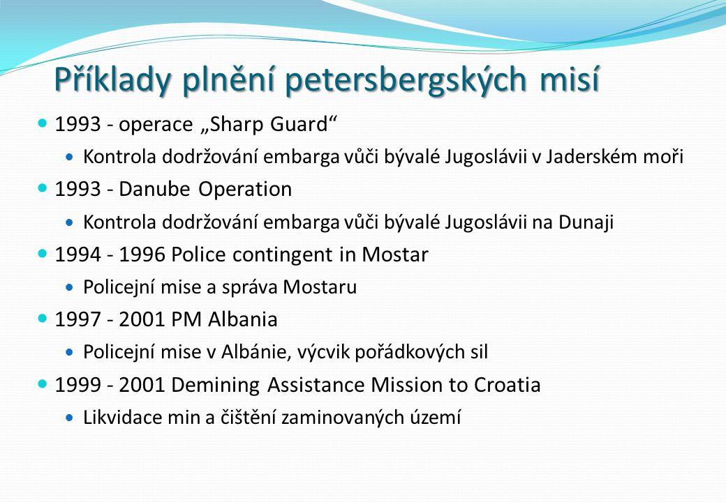 Příklady plnění petersbergských misí