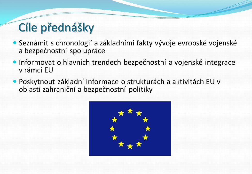 Cíle přednášky Seznámit s chronologií a základními fakty vývoje evropské vojenské a bezpečnostní spolupráce.