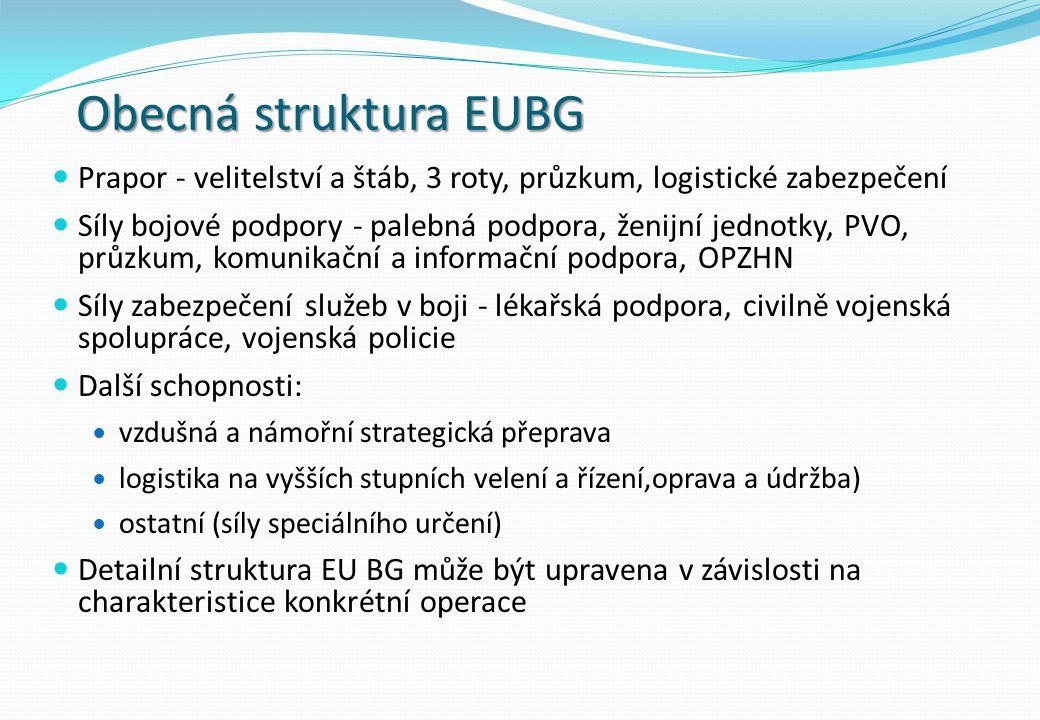 Obecná struktura EUBG Prapor - velitelství a štáb, 3 roty, průzkum, logistické zabezpečení.
