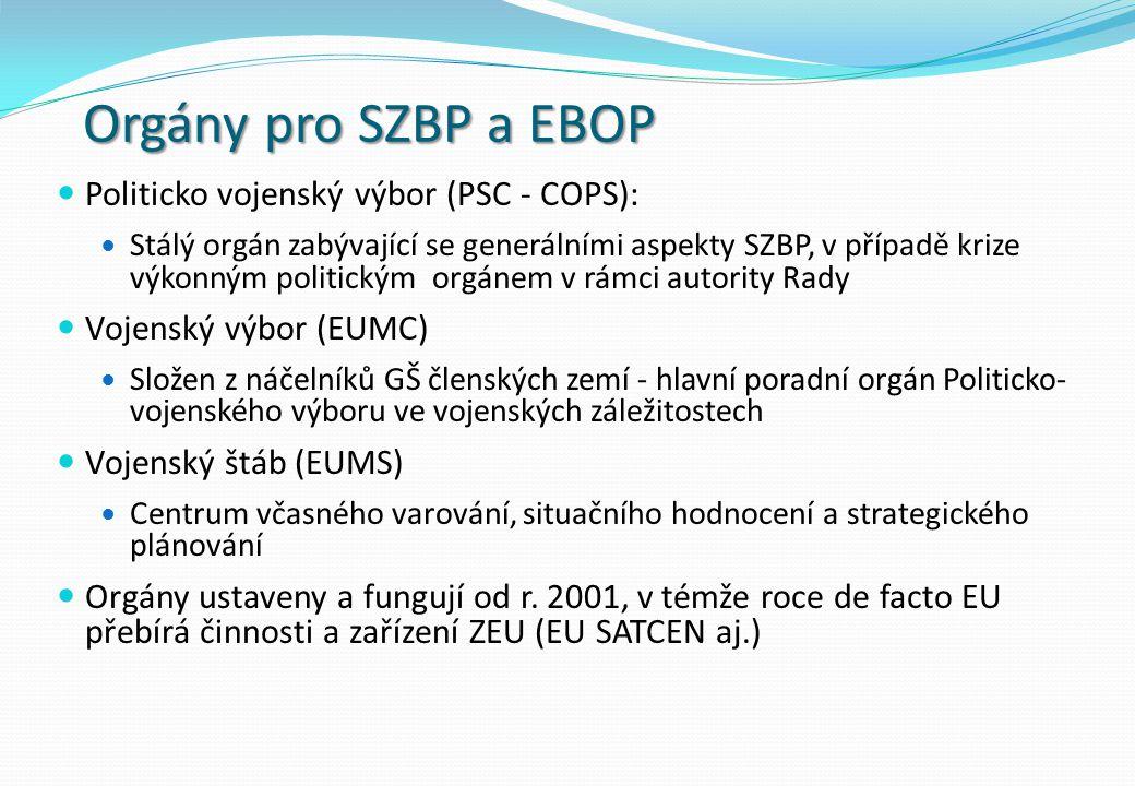 Orgány pro SZBP a EBOP Politicko vojenský výbor (PSC - COPS):