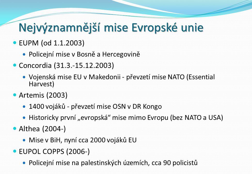 Nejvýznamnější mise Evropské unie