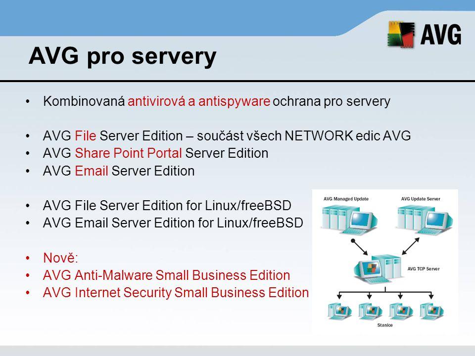 AVG pro servery Kombinovaná antivirová a antispyware ochrana pro servery. AVG File Server Edition – součást všech NETWORK edic AVG.