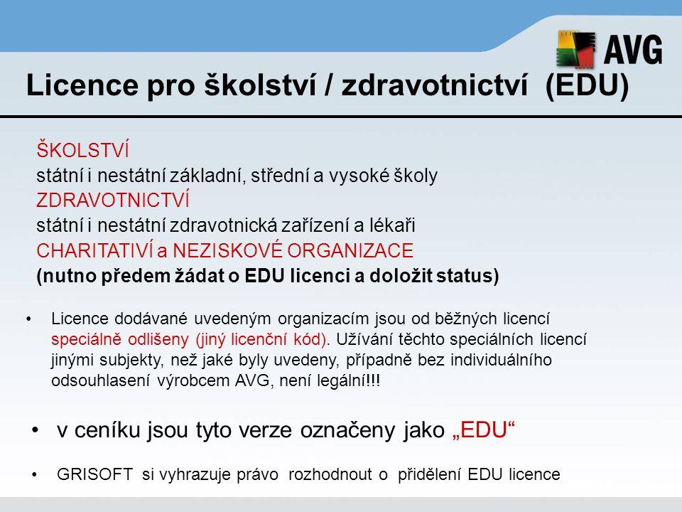 Licence pro školství / zdravotnictví (EDU)