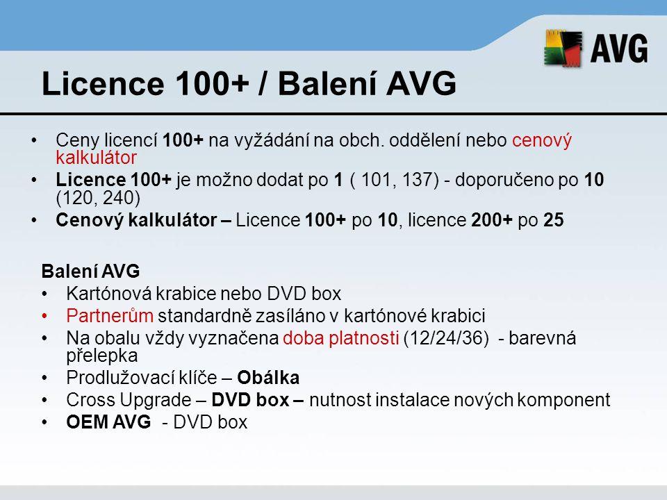 Licence 100+ / Balení AVG Ceny licencí 100+ na vyžádání na obch. oddělení nebo cenový kalkulátor.