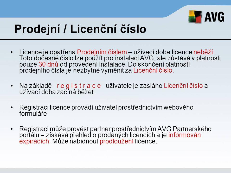 Prodejní / Licenční číslo
