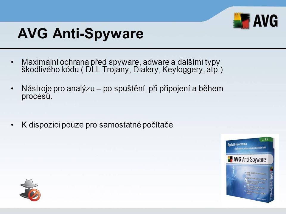 AVG Anti-Spyware Maximální ochrana před spyware, adware a dalšími typy škodlivého kódu ( DLL Trojany, Dialery, Keyloggery, atp.)