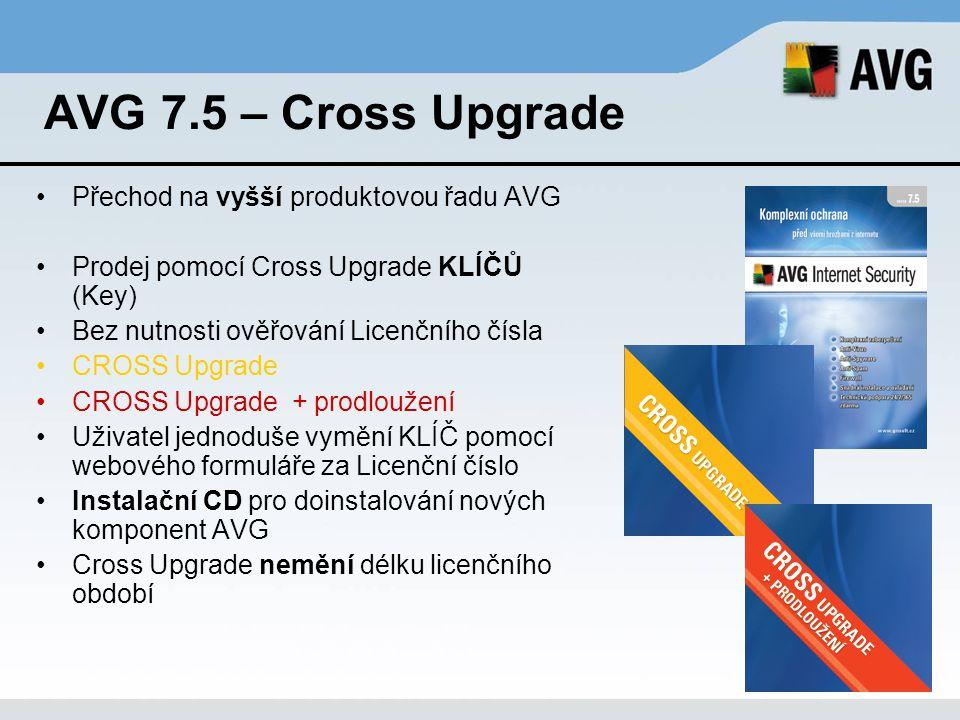 AVG 7.5 – Cross Upgrade Přechod na vyšší produktovou řadu AVG