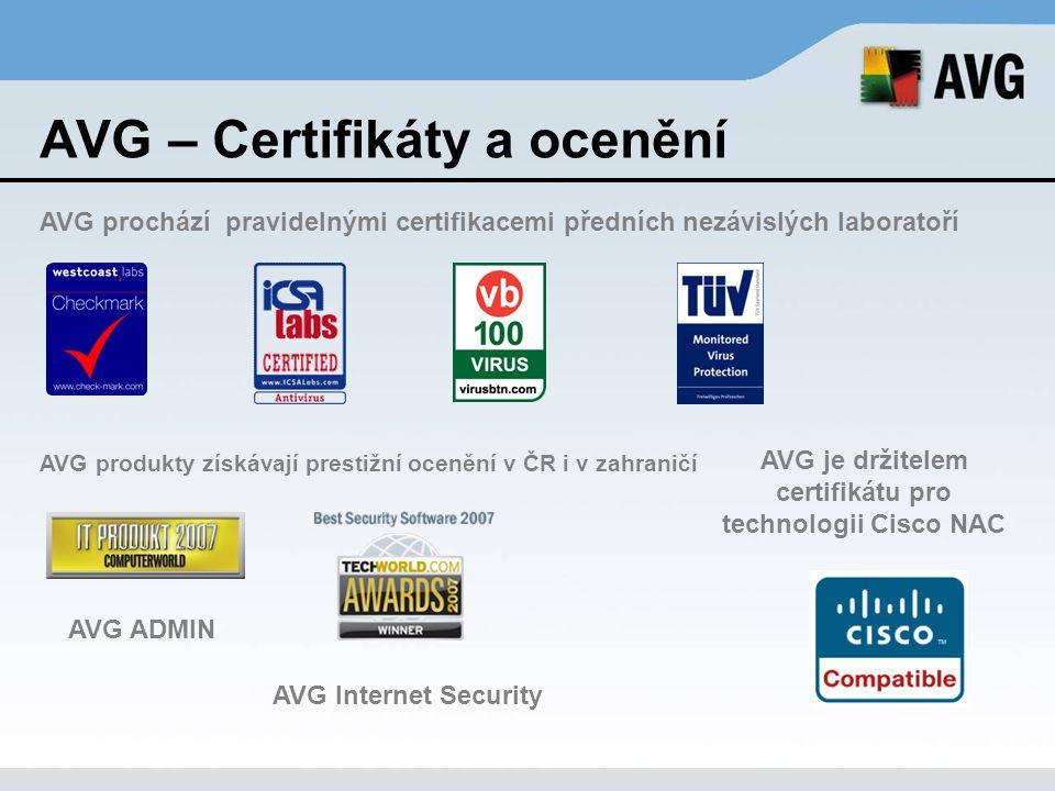 AVG – Certifikáty a ocenění