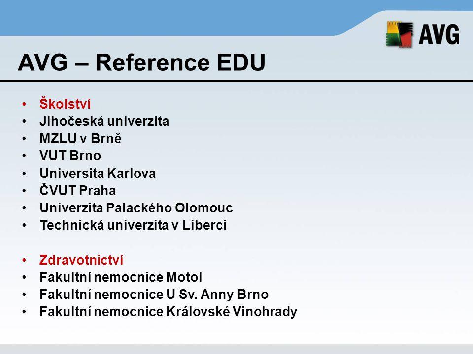 AVG – Reference EDU Školství Jihočeská univerzita MZLU v Brně VUT Brno