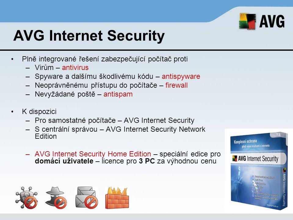 AVG Internet Security Plně integrované řešení zabezpečující počítač proti. Virům – antivirus. Spyware a dalšímu škodlivému kódu – antispyware.