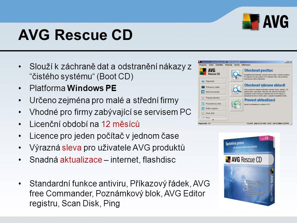 AVG Rescue CD Slouží k záchraně dat a odstranění nákazy z čistého systému (Boot CD) Platforma Windows PE.