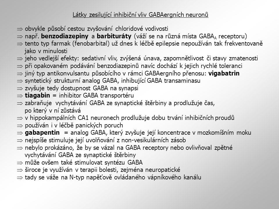 Látky zesilující inhibiční vliv GABAergních neuronů