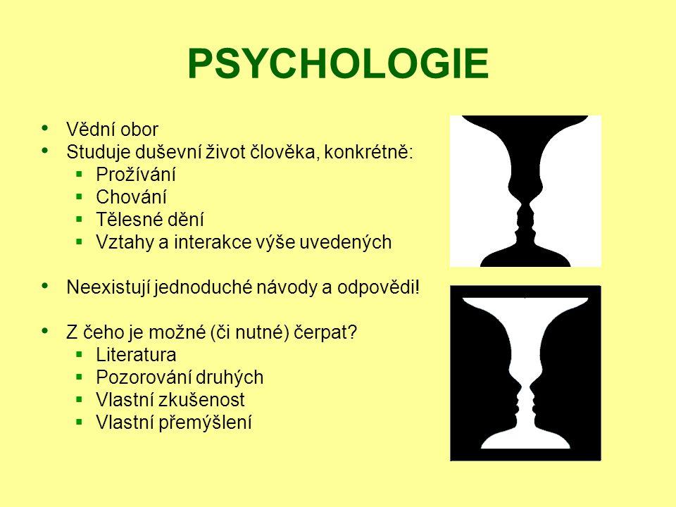PSYCHOLOGIE Vědní obor Studuje duševní život člověka, konkrétně: