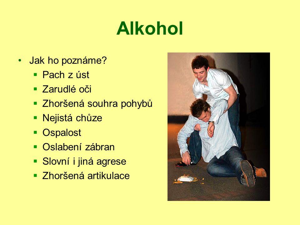 Alkohol Jak ho poznáme Pach z úst Zarudlé oči Zhoršená souhra pohybů